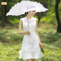 Red brief paragraph ivory lace brides wedding dress to marry the bride short plus size wedding dresses vestido de noiva 453