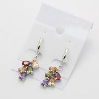 Fashion Leaf Teardrop 18K Platinum Gold Plated CZ Cubic Zircon Earrings for Women Multicolor CZ Stones Christmas Gift  CTE003