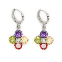 Lucky clover 18K Platinum Gold Plated CZ Cubic Zircon Earrings for Women Multicolor CZ Stones Christmas Gift CTE004