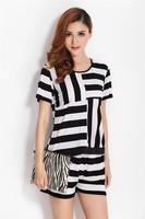 Plus size two pieces set women summer striped shirt sports twinset xxxxl 4xl 3xl