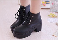 2014 british style PU round toe lacing martin boots high thick heel platform women's boots