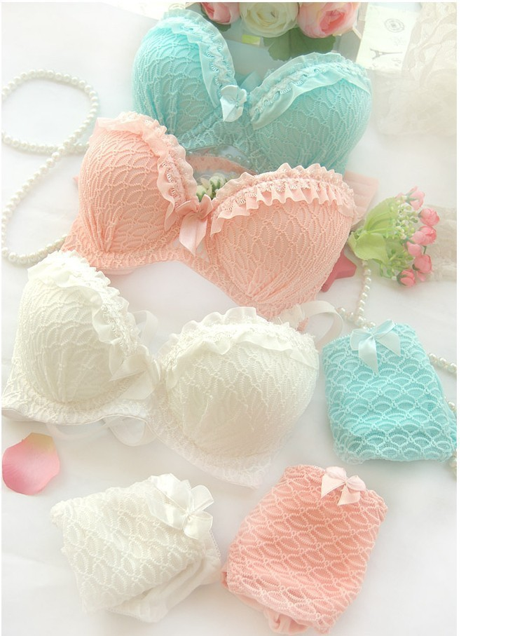 Free shipping 2014 new women cute push up bra set A B C cup 32A 34A 36A 32B 34B 36B 32C 34C sexy lace girl underwear suit(China (Mainland))
