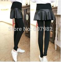 Korean Leggings Ruffles PU Leather Patchwork Cotton Solid Leggings Pleated Skirt Legging Two-Pieces Hip Pants Leggins For Woman
