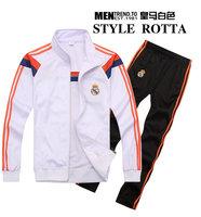 2015 New Real Madrid brand Unisex Suits SportsWear Youth/Kids/men 14 15 long-sleeve tracksuit sport suit lesure jacket+pants hat