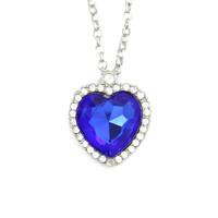 Vintage Women's Stylish Royal Blue Heart Crystal Pendant Necklace Fashion Necklaces for Women 2014 Necklaces & Pendants CX197