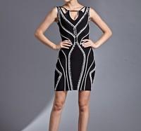 Free Shipping 2014 Ladies sexy Club Party Vestido HL Black Sleeveless Keyhole Bandage Dress Elegant Evening Party Dress HL560