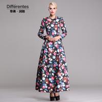 Twods dresses new fashion 2014 autumn winter x-long dress women floral print back zipper open long sleeves o-neck swing maxi