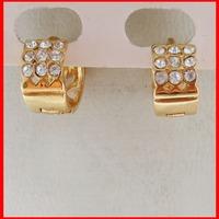 MIN ORDER 10$/NEW 18K YELLOW GOLD GP SOLID FILL CZ STONE HUGGIE HOOP EARRING DIAMETER 11MM /GREAT GIFT/