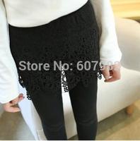 New Fashion 2014 Women Autumn Leggings Cotton Lace Hollow Out Legging Hook Flower Legging Two-Pieces Hip Pants Leggins For Woman