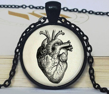 (BUY 3 GET 1 FREE )Halloween anatomical heart pendant anatomical heart necklace anatomical heart jewelry for men