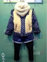 RQQ  children's clothing wholesale  girls dot cowboy plush velvet jacket splicing plus A5596 2.19 Christmas