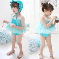 Summer Hot 2-7Y girls soft swimsuit frozen elsa fashion diamond-ironing swimsuit for Children's two pieces kids cute swimwear