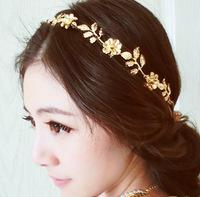 Vintage Gold Flower and Leaf Crystal Hairband Headband Head Chain Hair Jewelry Hair Accessires Head Jewelry CF086
