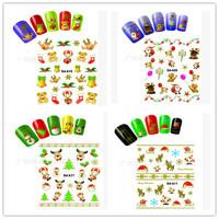 wholesale 20pcs/lot christmas gifts multi styles  cartoon nail stickers girls beauty 3D nail sticker DD