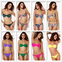 10 Colors New Strapless Bikini Set Sexy Flower Printing Push up With Underwire S/M/L/XL Swimsuit High quality Retails&Wholesale