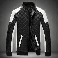 New men's jacket 2014 Simple Hit color PU leather jacket Motorcycle jacket slim men's Winter coat mens jackets men's clothing