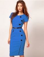 High Street Vestidos Gown V-Neck Knee-Length Button Women Work Wear Office Dress Bandage Casual Pencil Party Dresses Plus Size