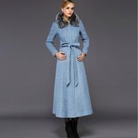 2014 New design long wool winter coat women luxury real fox fur collar zipper overcoat woolen jacket plus size long trench