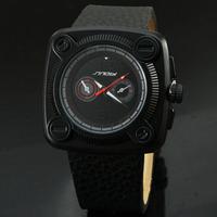 Sinobi Brand Men Big Watch Black Stainless Steel Sports Watch Men Military Watches Waterproof Relogio Masculino 9469