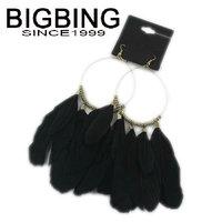 BigBing Fashion Black feather dangle earrings fashion earring fashion jewelry nickel free Free shipping! S805