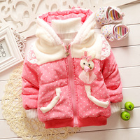 2014 hot-selling children winter outwear ,Clothing Baby Girls Hooded Coat rabbit painted princess Style winter jacket WCJ-026