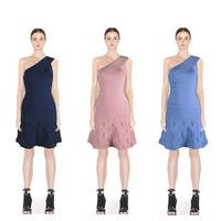 2014 Womens Autumn&Winter Vestido 3 Colors Top Quality Bodycon Elegant One Shoulder Aline Bandage Cocktail Party Dress HL543