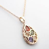 AAA+ 18K Platinum Gold Plated CZ Cubic Zircon Teardrop Necklaces Pendants for Women Multicolor CZ Stones Christmas Gift CTN003