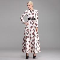 2014 New print long dress women's elegant O-neck long sleeve floor-length dress plus size autumn winter thick dress plus velvet