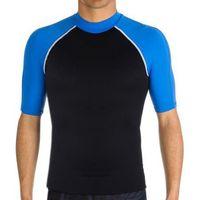 New Mens Clothing Swimwears Collar Blue Spandex Slim Short Sleeve Men Swimming Suits Rash Guards 2XL