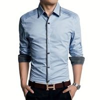 Men's cotton shirts long sleeve 2014 hot sale New Mens Shirts Casual Slim Fit Stylish Mens Dress Shirts size M-3XL free shipping