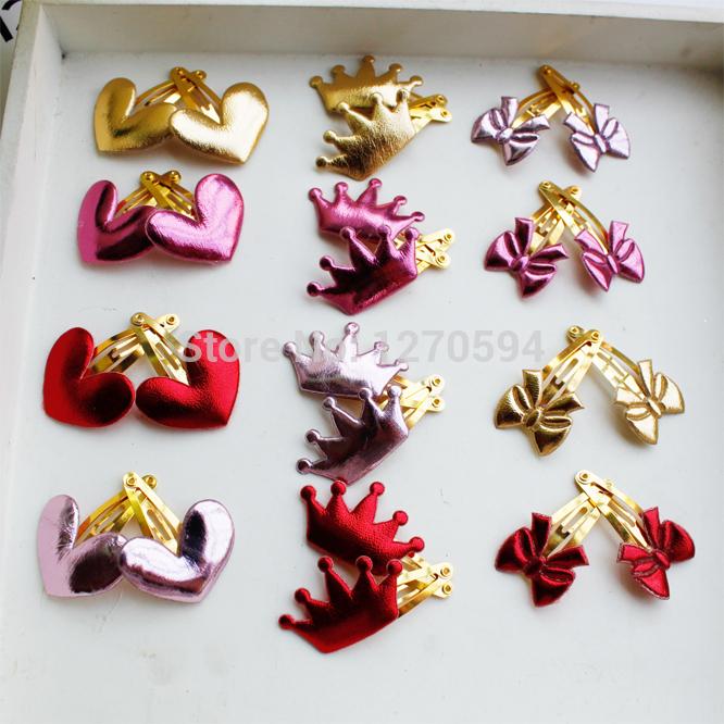 Wholesale New Gold Crown Royal Girls BB Hair Clips Baby Cartoon Bow Hairpin Fashion Heart Novelty Tiara Flower Star Hair Wear(China (Mainland))
