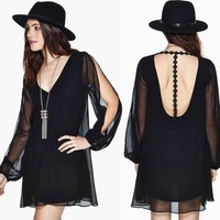 2014 Europe back spliced t-type deep v Halter dress embroidered woven long sleeve double layer dress free shipping