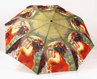 New Anti-uv Oil Painting three fold umbrella Beauty's back umbrellas