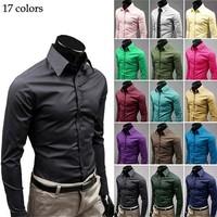 Free Shipping 2014 Men Shirt British Style Long-Sleeve Male Slim Casual Shirts Men's Cothing White Black Shirt