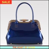 Fashion Women Patent Leather Handbag Solid Rhinestone Rivet Female Bags Desigual Brand free shipping B108