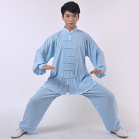 Silk tai chi clothes spring and autumn male Women blue
