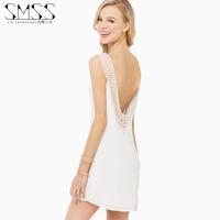 SMSS 2014 fashion o-neck double layer racerback laciness chiffon one-piece dress