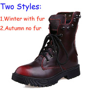 Matin Boots Women Winter Genuine Leather Skull Rivets Fur Motorcycle Boots Lady Ankle Boots Red Bronze Euro Size 40