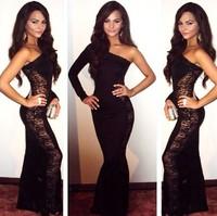 2014 Solid Black One-Shoulder Mesh Sides Floral Lace Nude Illusion Gown Vestido De Renda Longo Floor Length Bodycon Long Dress