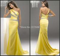 Vestidos De Fiesta Latest Fashion One Shoulder Sheath Yellow Chiffon Floor-Length Long Prom Gowns Dresses Party Evening Elegant