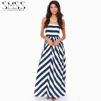 SMSS fashion summer tube top slim waist zipper racerback blue and white stripe jumpsuit