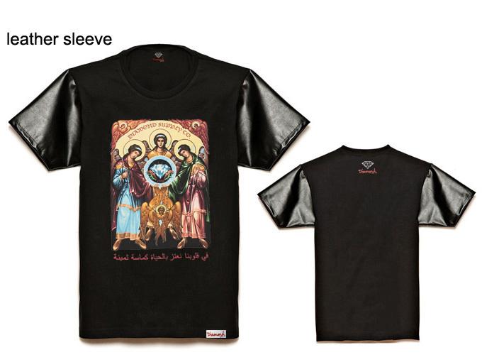 fornecer co diamante marca t- camisa dos homens camisetas de manga curta hip hop homens roupas da moda floral hip hop tees leopardo(China (Mainland))