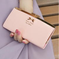 99 Time-hot sell new arrival Korea original design cut bow knot women wallets,vertical long style leather ladies clutch wallet