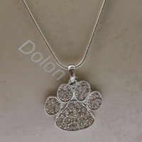 3pcs per lot Animal Paw Print Jewelry Dog or Cat Paw Necklace With Snake Chain in 3cm Paw Charm