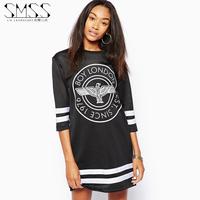 SMSS 2014 fashion o-neck boy letter print short-sleeve cutout gauze one-piece dress