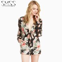 SMSS fashion summer deep V-neck bow shirt sleeve cutout sexy slim waist jumpsuit