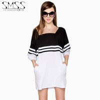 SMSS fashion autumn new arrival loose casual black and white stripe patchwork lantern sleeve one-piece dress
