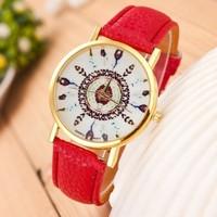 Hot Cheap Women Watch 2014 New Style Fashion Flower Casual Watch Trendy Geneva Watch PU Leather Quartz Watch Women Wristwatch