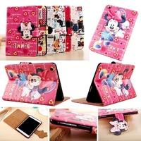 3D Head Portrait Buckle Cute Cartoon Expression Mickey Mouse Clubhouse Lovers Minnie Toolbox Flip Cover Case For iPad mini 1/2/3