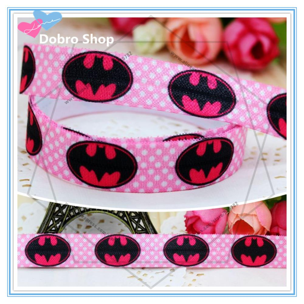 "5/8"" 16mm Dots Batman Hot Pink Fold Over Elastic-FOE Printed Ribbon Wholesale For DIY Hair Garment Decorations,50 Yards/lot(China (Mainland))"